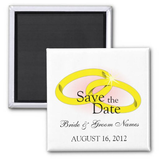 Save the Date Magnets Wedding Rings Fridge Magnet