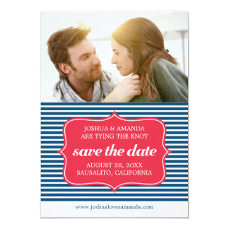Save the Date Marine Blue Nautical Stripes Card