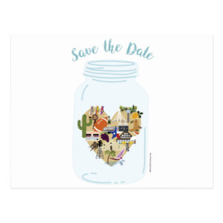 Save the Date Mason Jar Texas Wedding Postcard