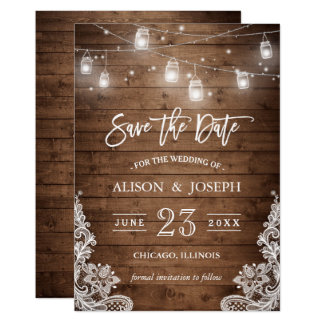 "Save The Date Mason Jars Lights Rustic Wood Lace 5"" X 7"" Invitation Card"
