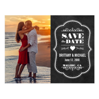 Save The Date Modern Chalkboard Photo Postcard