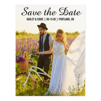 Save The Date Modern Couple Photo Postcard SB