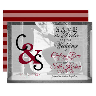 Save The Date Modern Day Love - Maroon Card