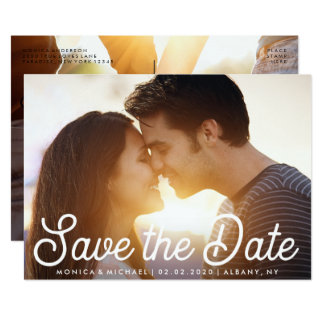 Save the Date Modern Engagement Photo Card