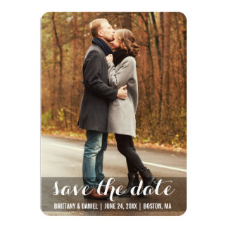 Save The Date Modern Engagement Photo Card LWBR