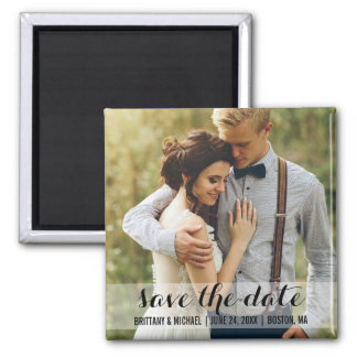 Save The Date Modern Engagement Photo Magnet SW