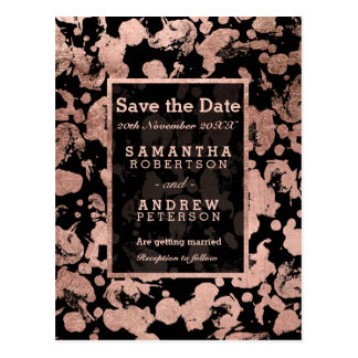 Save the Date modern faux rose gold brushstrokes Postcard