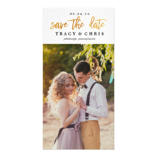SAVE THE DATE modern glitter announcement Photo Greeting Card
