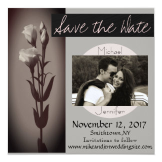 Save the Date Modern Roses Black and White Custom Card