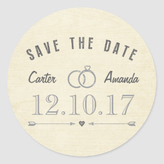 Save The Date Modern Rustic Light Tan Wood Classic Round Sticker