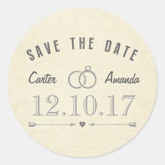 Save The Date Modern Rustic Light Tan Wood Round Sticker
