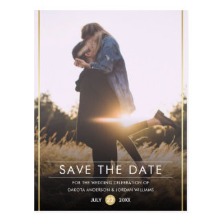 Save The Date | Modern Typography & Gold Photo Postcard