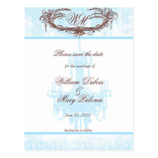 Save the Date Monogram Aqua Chandelier and Damask Postcard