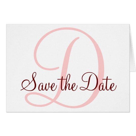 Save the Date Monogram Card Coral Pink