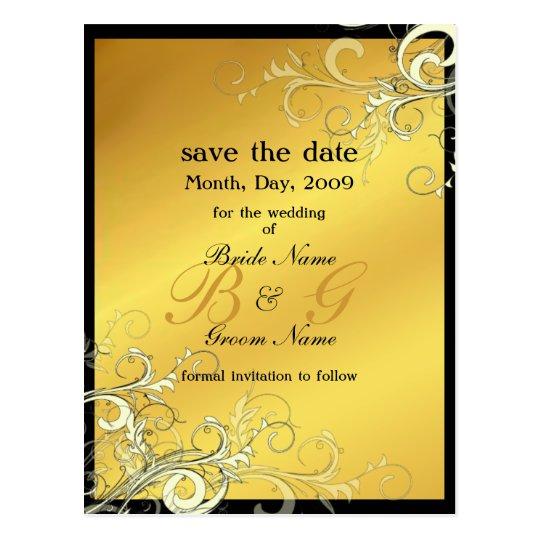 Save the Date, monogram cream swirls Postcard