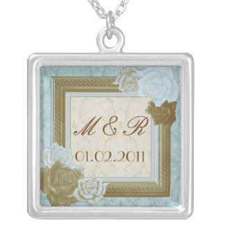 Save The Date, Monogram Custom Necklace Pendant