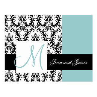 Save the Date Monogram Damask Wedding Blue Postcard