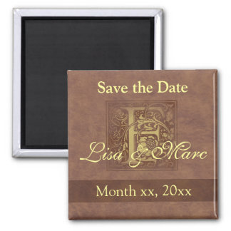 Save the Date Monogram F Square Magnet