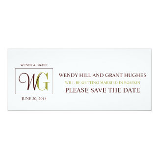 "Save the Date Monogram Wedding Logo 4"" X 9.25"" Invitation Card"
