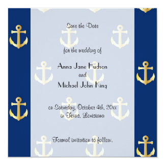 Save the Date - Nautical Anchors - Blue Gold Card