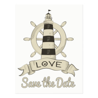 Save the Date Nautical Lighthouse Engagement Postcard
