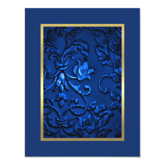 Save the Date Navy Blue Damask with Any Color Card