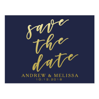 Save the date | Navy & Faux Gold Script Postcard
