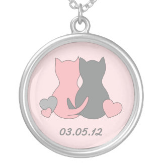 Save the date  necklace, cat, kitten, pink heart. round pendant necklace