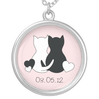 Save the date  necklace, cat, kitten, pink heart. silver plated necklace