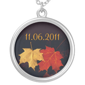 Save The Date Necklace Custom Autumn Leaves