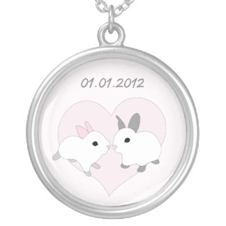 Save The Date necklace, pink bunnies, heart, love.