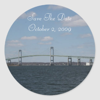 Save the date, NEWPORT, RI Classic Round Sticker