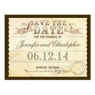 save the date old vintage tickets typographic card postcard