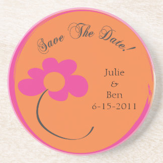 Save the Date Orange Pink Flower Coaster