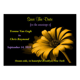 Save The Date Orange Yellow Daisy Business Cards