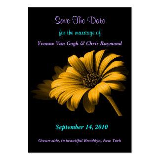 Save The Date Orange Yellow Daisy II Business Card