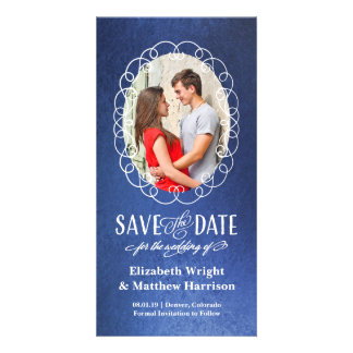 Save the Date | Oval Romance Blue Customized Photo Card