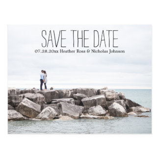 Save the date overlay text postcard