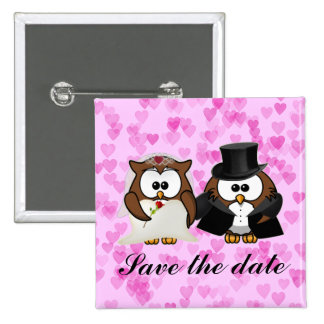 save the date owl 2 inch square button