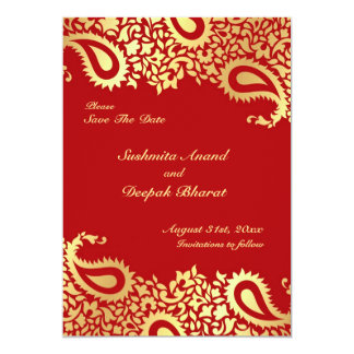 "Save the Date Paisleys Elegant Indian Flat Card 5"" X 7"" Invitation Card"