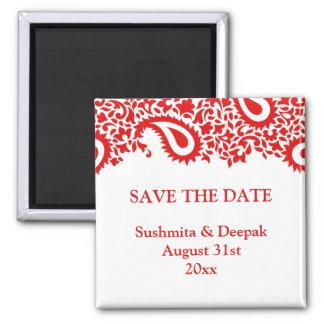Save the Date Paisleys Elegant Indian Magnet