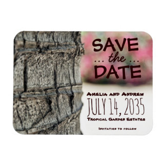 Save the Date Palm Tree Begonia Wedding Garden Magnet