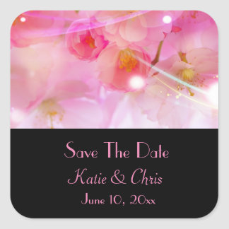 Save The Date Pastel Pink Cherry Blossoms Square Sticker
