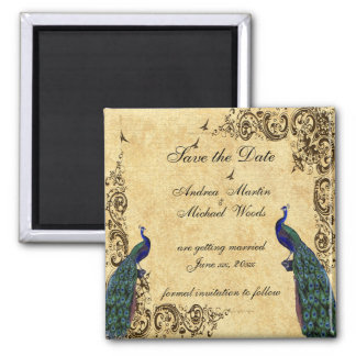 Save the Date, Peacock, Custom Magnet