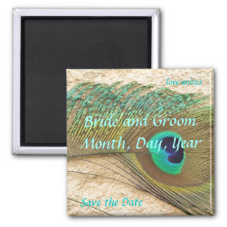 Save the Date Peacock Magnet
