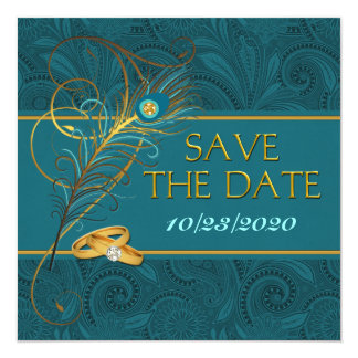 """Save the Date Peacock Teal Wedding 5.25"""" Square Invitation Card"""