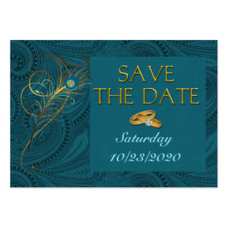 Save the Date Peacock Wedding Cubby Mini Cards Large Business Card