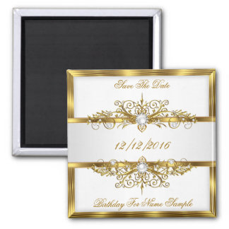 Save The Date Pearls White Gold Birthday Party Magnet
