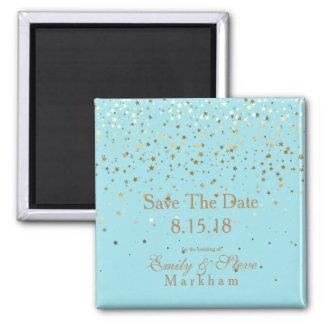 Save The Date Petite Golden Stars Magnet-Aqua Magnet