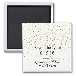 Save The Date Petite Golden Stars Magnet-B&W Magnet
